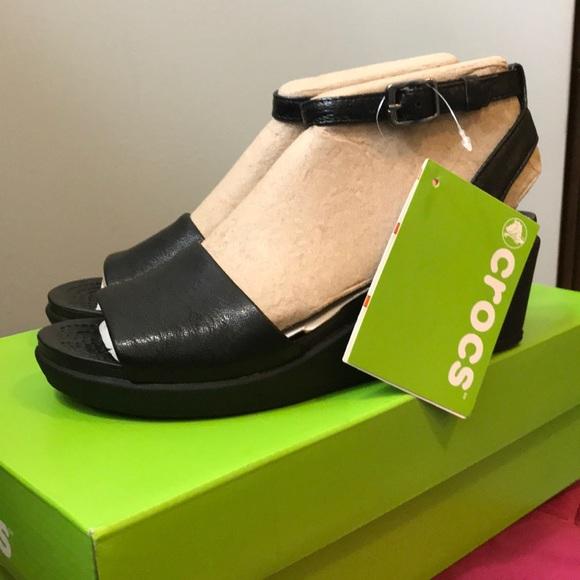 002dd23e4cc4b Crocs Leigh Ann Mini Wedge Ankle Strap Black NWT